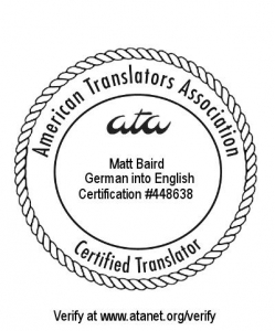 "Mein ""Certified Translator""-Stämpel vom ATA, Certification +448638"